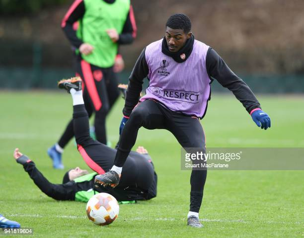 Ainsley MaitlandNiles of Arsenal during a training session at London Colney on April 4 2018 in St Albans England