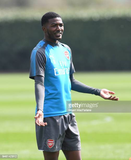Ainsley MaitlandNiles of Arsenal during a training session at London Colney on April 14 2018 in St Albans England
