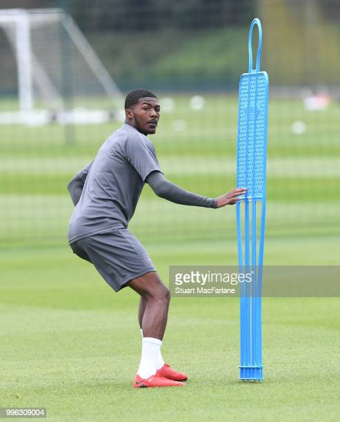 Ainsley MaitlandNiles of Arsenal during a training session at London Colney on July 11 2018 in St Albans England