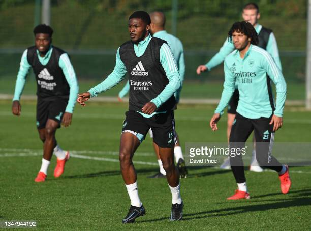 Ainsley Maitland-Niles of Arsenal during the Arsenal 1st team training session at London Colney on October 21, 2021 in St Albans, England.