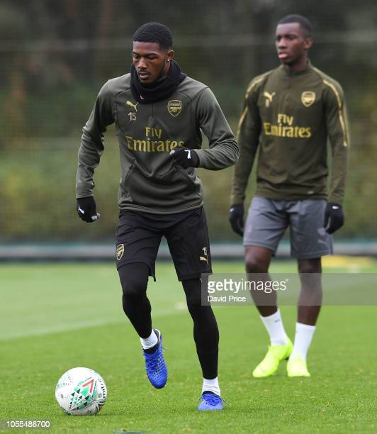 Ainsley MaitlandNiles of Arsenal during the Arsenal Training Session at London Colney on October 30 2018 in St Albans England