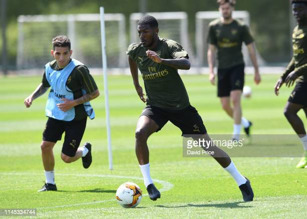 Ainsley Maitland-Niles of Arsenal during the Arsenal Training session at London Colney on May 21, 2019 in St Albans, England.