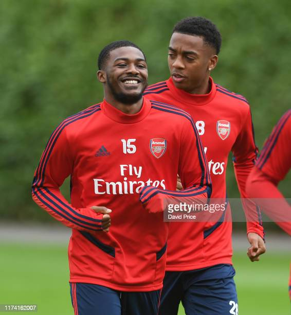 Ainsley Maitland-Niles of Arsenal during the Arsenal Training Session at London Colney on September 12, 2019 in St Albans, England.