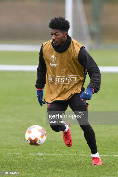 Ainsley MaitlandNiles of Arsenal during the Arsenal training session at London Colney on February 14 2018 in St Albans England