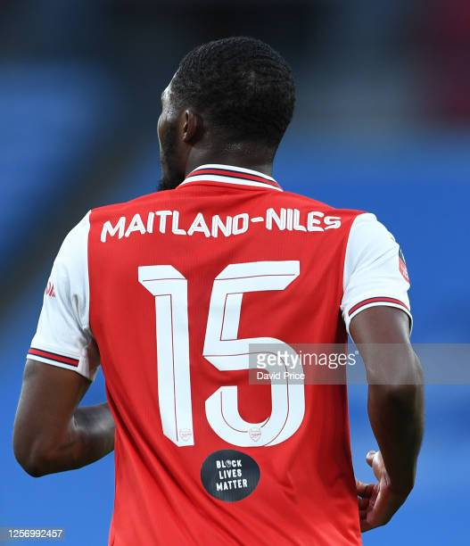 Ainsley MaitlandNiles of Arsenal during the FA Cup Semi Final match between Arsenal and Manchester City at Wembley Stadium on July 18 2020 in London...