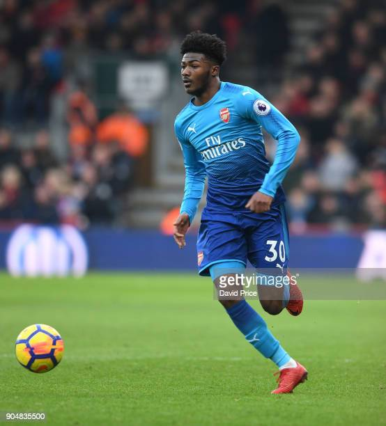 Ainsley MaitlandNiles of Arsenal during the Premier League match between AFC Bournemouth and Arsenal at Vitality Stadium on January 14 2018 in...