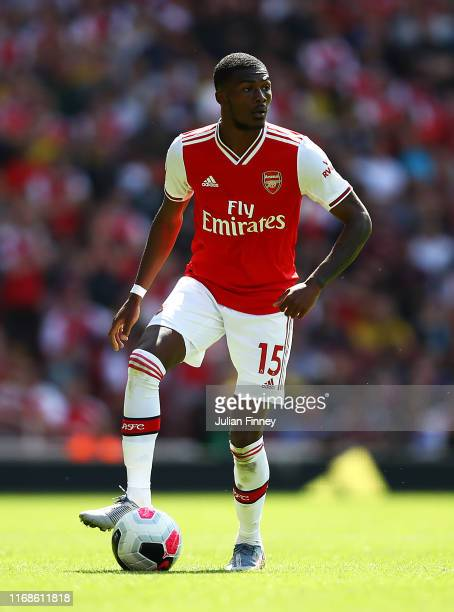 Ainsley MaitlandNiles of Arsenal during the Premier League match between Arsenal FC and Burnley FC at Emirates Stadium on August 17 2019 in London...