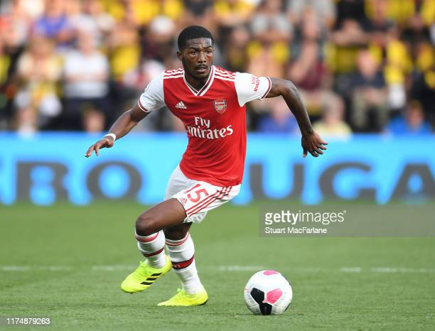 Ainsley MaitlandNiles of Arsenal during the Premier League match between Watford FC and Arsenal FC at Vicarage Road on September 15 2019 in Watford...