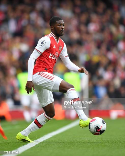 Ainsley MaitlandNiles of Arsenal during the Premier League match between Arsenal FC and Aston Villa at Emirates Stadium on September 22 2019 in...