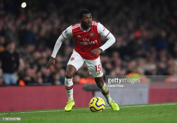 Ainsley MaitlandNiles of Arsenal during the Premier League match between Arsenal FC and Manchester United at Emirates Stadium on January 01 2020 in...