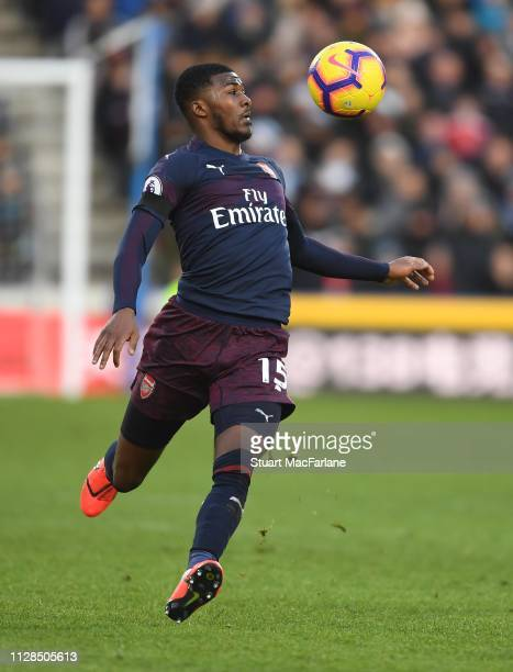 Ainsley MaitlandNiles of Arsenal during the Premier League match between Huddersfield Town and Arsenal FC at John Smith's Stadium on February 09 2019...