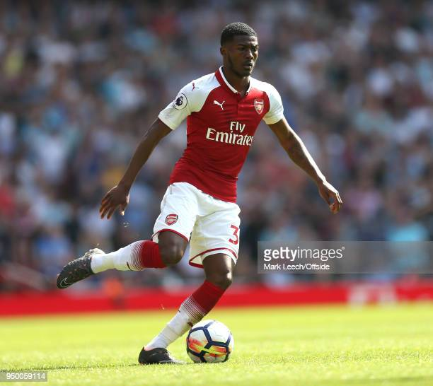 Ainsley MaitlandNiles of Arsenal during the Premier League match between Arsenal and West Ham United at Emirates Stadium on April 22 2018 in London...