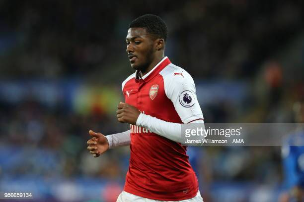 Ainsley MaitlandNiles of Arsenal during the Premier League match between Leicester City and Arsenal at The King Power Stadium on May 9 2018 in...