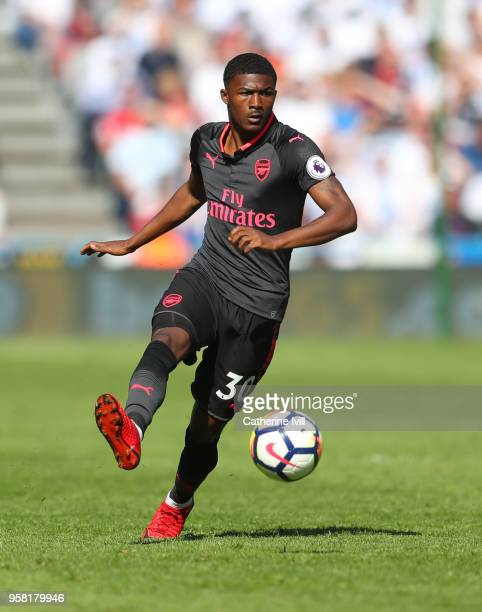 Ainsley MaitlandNiles of Arsenal during the Premier League match between Huddersfield Town and Arsenal at John Smith's Stadium on May 13 2018 in...
