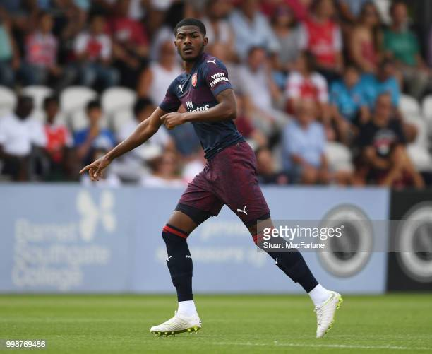 Ainsley MaitlandNiles of Arsenal during the preseason friendly between Boreham Wood and Arsenal at Meadow Park on July 14 2018 in Borehamwood England