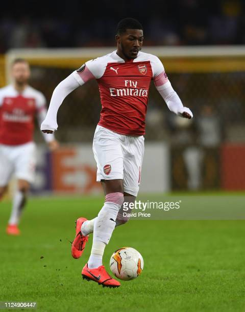 Ainsley MaitlandNiles of Arsenal during the UEFA Europa League Round of 32 First Leg match between BATE Borisov and Arsenal on February 14 2019 in...