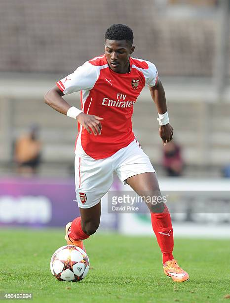 Ainsley Maitland-Niles of Arsenal during the UEFA Youth League match between Arsenal and Galatasaray at Meadow Park on October 1, 2014 in...