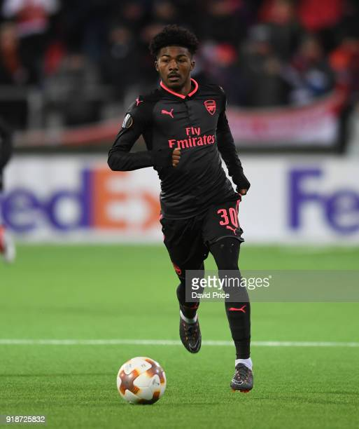 Ainsley MaitlandNiles of Arsenal during UEFA Europa League Round of 32 match between Ostersunds FK and Arsenal at the Jamtkraft Arena on February 15...
