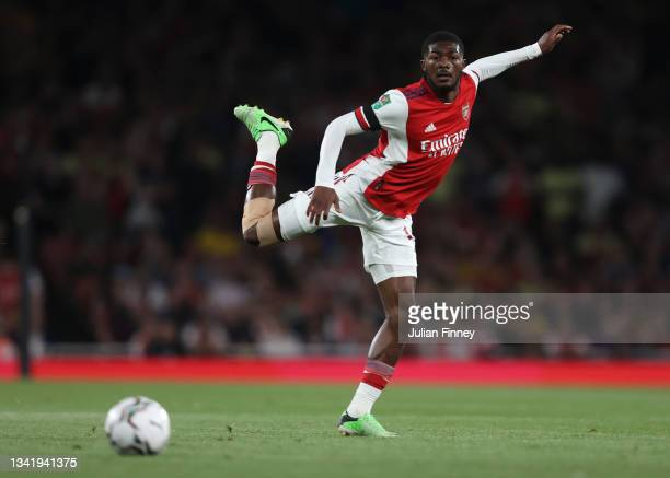 Ainsley Maitland-Niles of Arsenal in action during the Carabao Cup Third Round match between Arsenal and AFC Wimbledon at Emirates Stadium on...