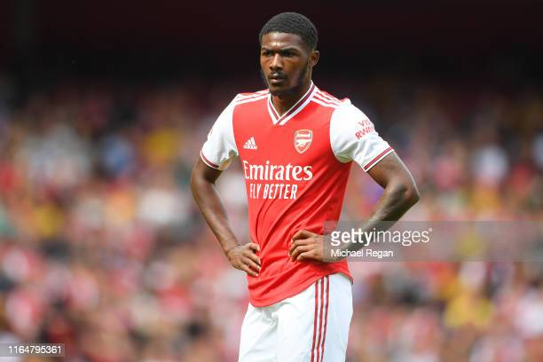 Ainsley MaitlandNiles of Arsenal in action during the Emirates Cup match between Arsenal and Olympique Lyonnais at the Emirates Stadium on July 28...