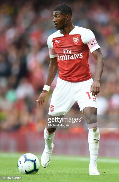 Ainsley MaitlandNiles of Arsenal in action during the Premier League match between Arsenal FC and Manchester City at Emirates Stadium on August 12...