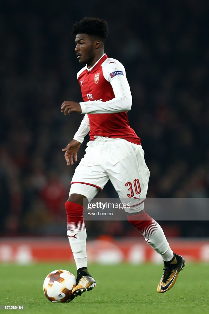 Ainsley Maitland-Niles of Arsenal in action during the UEFA Europa League group H match between Arsenal FC and Crvena Zvezda at Emirates Stadium on November 2, 2017 in London, United Kingdom.