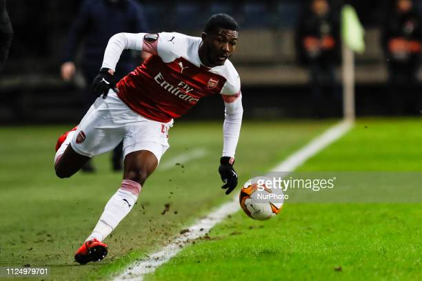 Ainsley MaitlandNiles of Arsenal in action during the UEFA Europa League Round of 32 first leg match between FC BATE Borisov and Arsenal FC on...