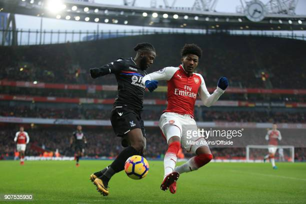 Ainsley MaitlandNiles of Arsenal in action with Bakary Sako of Crystal Palace during the Premier League match between Arsenal and Crystal Palace at...