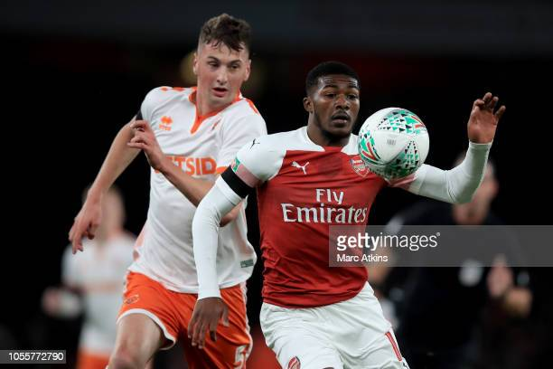Ainsley MaitlandNiles of Arsenal in action with Paudie O'Connor of Blackpool during the Carabao Cup Fourth Round match between Arsenal and Blackpool...