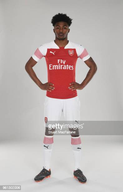 Ainsley MaitlandNiles of Arsenal in the new home kit for season 201819 on March 16 2018 in St Albans England