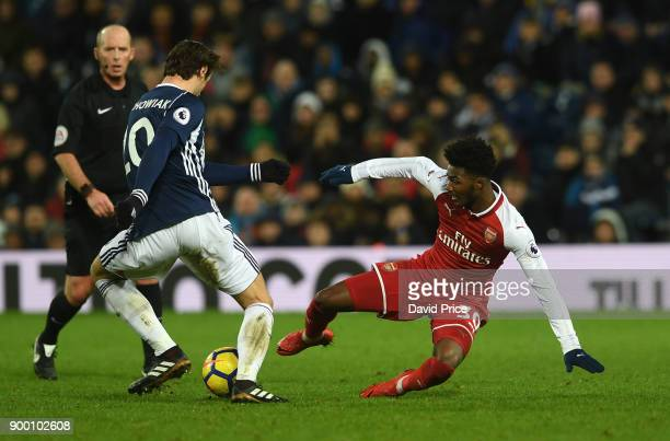 Ainsley MaitlandNiles of Arsenal is chalenged by Grzegorz Krychowiak of WBA during the Premier League match between West Bromwich Albion and Arsenal...