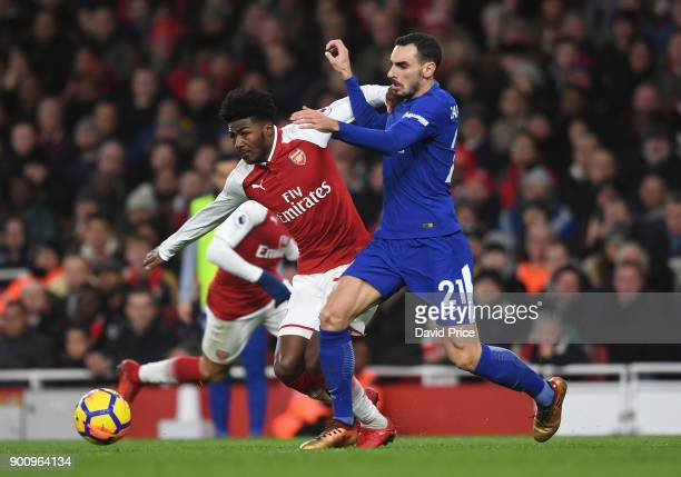 Ainsley MaitlandNiles of Arsenal is challenged by Davide Zappacosta of Chelsea during the Premier League match between Arsenal and Chelsea at...