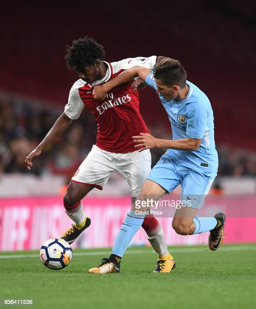 Ainsley MaitlandNiles of Arsenal is challenged by Lorenzo Gonazalez of Man City during the match between Arsenal U23 and Manchester City U23 at...