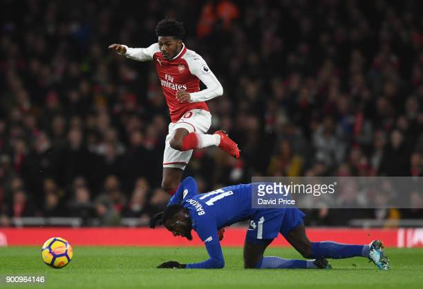 Ainsley MaitlandNiles of Arsenal is challenged by Tiemoue Bakayoko of Chelsea during the Premier League match between Arsenal and Chelsea at Emirates...