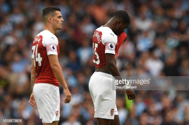 Ainsley MaitlandNiles of Arsenal looks dejected as he walks off injured during the Premier League match between Arsenal FC and Manchester City at...