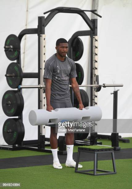 Ainsley MaitlandNiles of Arsenal looks on during a training session at London Colney on July 9 2018 in St Albans England