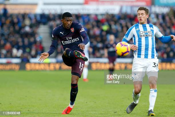 Ainsley MaitlandNiles of Arsenal plays the ball into the box during the Premier League match between Huddersfield Town and Arsenal FC at John Smith's...