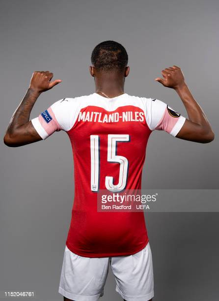 Ainsley Maitland-Niles of Arsenal poses for a photo during the Arsenal Europa League Final Media Day at London Colney on May 21, 2019 in St Albans,...