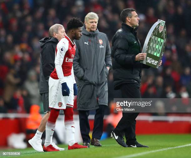 Ainsley MaitlandNiles of Arsenal prepares to come on during the Premier League match between Arsenal and Crystal Palace at Emirates Stadium on...
