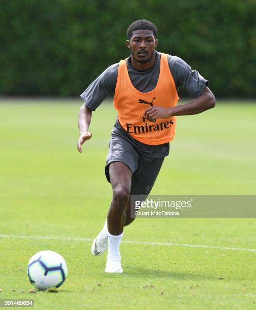 Ainsley MaitlandNiles of Arsenal runs for the ball during a training session at London Colney on July 4 2018 in St Albans England