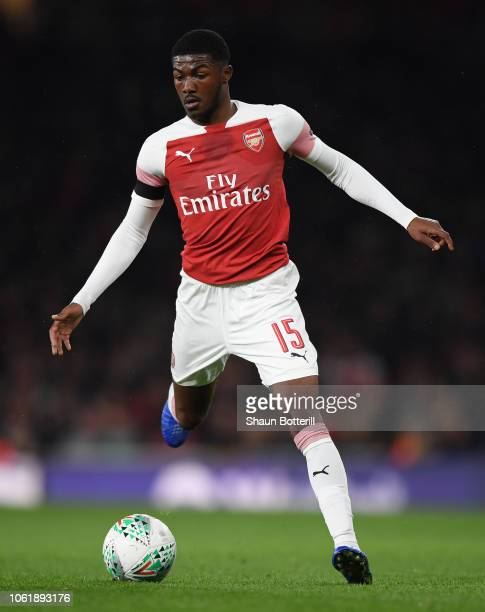 Ainsley MaitlandNiles of Arsenal runs with the ball during the Carabao Cup Fourth Round match between Arsenal and Blackpool at Emirates Stadium on...