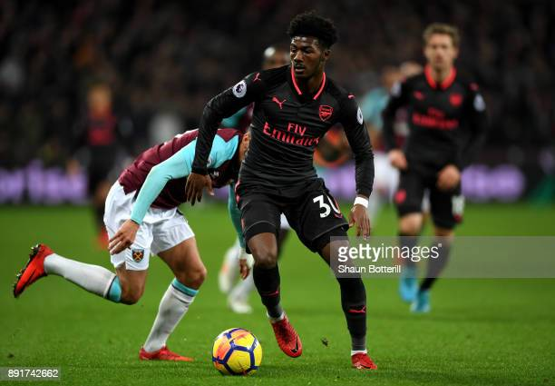 Ainsley MaitlandNiles of Arsenal runs with the ball during the Premier League match between West Ham United and Arsenal at London Stadium on December...