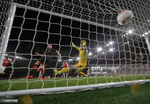 Ainsley MaitlandNiles of Arsenal scores a goal during the Europa League Round of 16 second leg match between Arsenal and Stade Rennes at The Emirates...