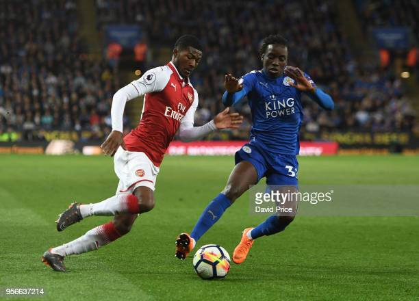 Ainsley MaitlandNiles of Arsenal takes Fousseni Diabate of Leicester during the Premier League match between Leicester City and Arsenal at The King...