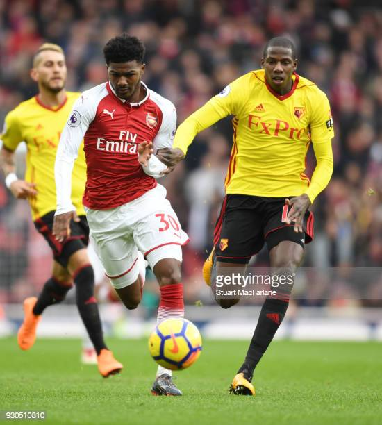 Ainsley MaitlandNiles of Arsenal takes on Abdoulaye Doucoure of Watford during the Premier League match between Arsenal and Watford at Emirates...