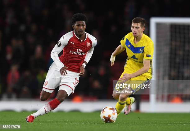 Ainsley MaitlandNiles of Arsenal takes on Aleksei Rios of Bate during the UEFA Europa League group H match between Arsenal FC and BATE Borisov at...