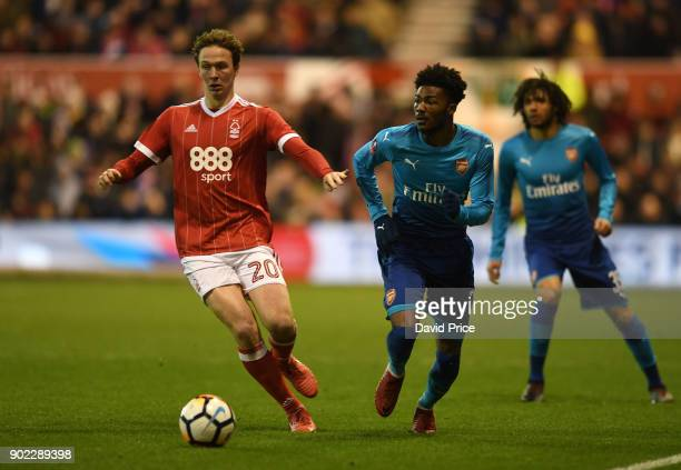Ainsley MaitlandNiles of Arsenal takes on Kieran Dowell of Forest during the Emirates FA Cup 3rd Round match between Nottingham Forest and Arsenal at...