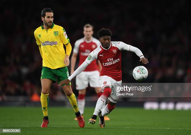Ainsley MaitlandNiles of Arsenal takes on Mario Vrancic of Norwich during the Carabao Cup Fourth Round match between Arsenal and Norwich City at...
