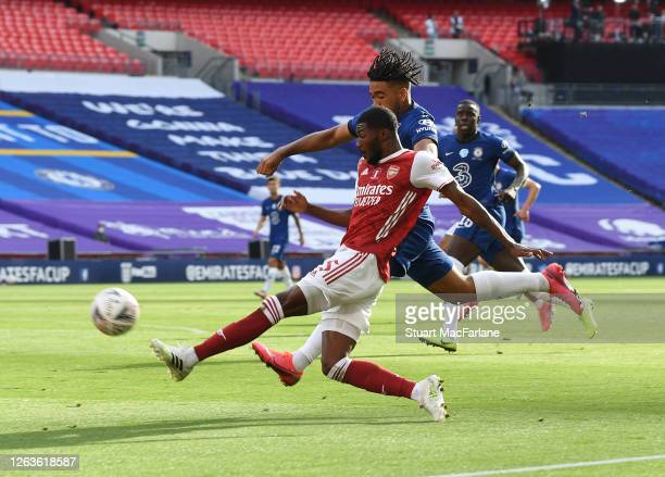 Ainsley MaitlandNiles of Arsenal takes on Reece James of Chelsea during the FA Cup Final match between Arsenal and Chelsea at Wembley Stadium on...
