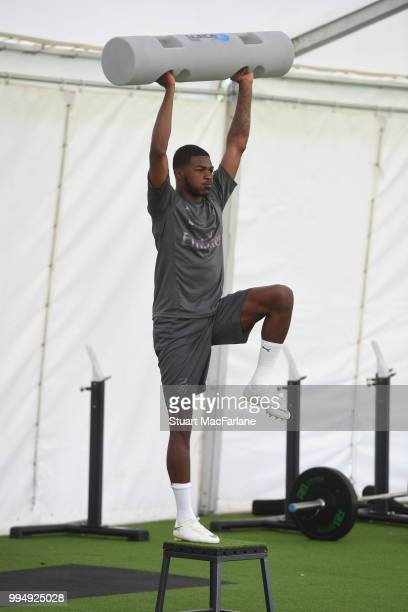 Ainsley MaitlandNiles of Arsenal warms up during a training session at London Colney on July 9 2018 in St Albans England